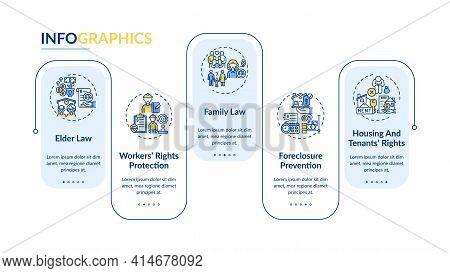 Legal Services Types Vector Infographic Template. Elder Law Presentation Design Elements. Data Visua