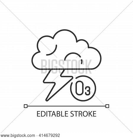 Lightning Linear Icon. Lightning Significantly Increases Regional Ozone And Other Gases. Thin Line C