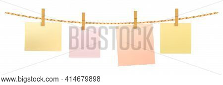 Paper Notes Hanging On A Rope With Clothespins. Realistic Vector Illustration Isolated On White Back