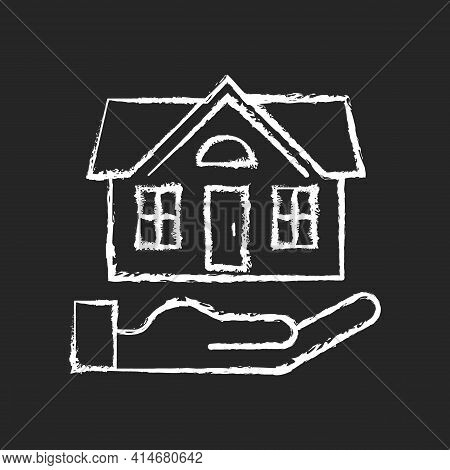 Home Insurance Chalk White Icon On Black Background. Insured Event. Covering Accident Expenses For R