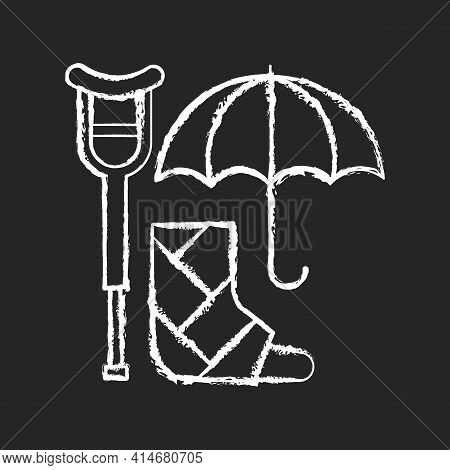 Disability Insurance Chalk White Icon On Black Background. Wage Replacement For Disabled Employee. A