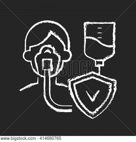 Critical Illness Insurance Chalk White Icon On Black Background. Covering Health Conditions. Medical
