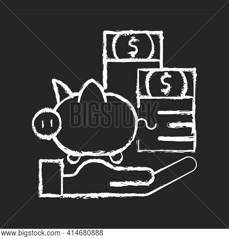 Payment Protection Insurance Chalk White Icon On Black Background. Loan Repayment Insurance. Coverin