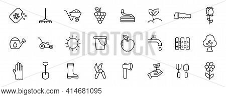 Garden Outline Vector Icons Isolated On White. Gardening Icon Set For Web And Ui Design, Mobile Apps