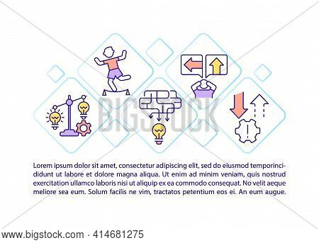 Risk Management Concept Line Icons With Text. Ppt Page Vector Template With Copy Space. Brochure, Ma
