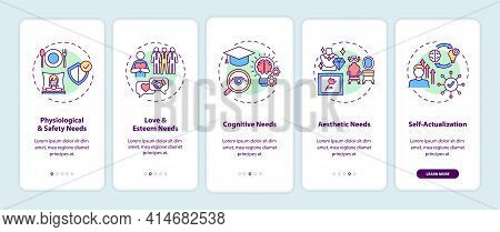 Human Being Needs Onboarding Mobile App Page Screen With Concepts. Psychology, Self-actualization Wa