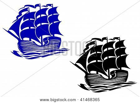 Brig sail ship