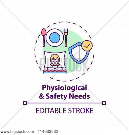 Physiological And Safety Needs Concept Icon. Maslow System. Mental Attitude. Self Development Idea T