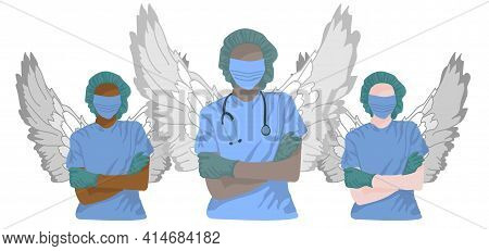 Multinational Doctors As Angels Protect From Pandemic Covid-19 Corona Virus. Vector Illustration