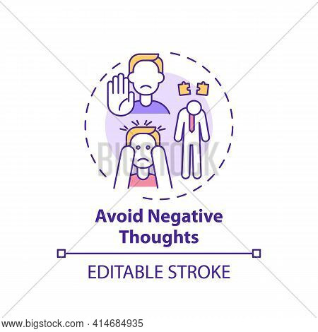 Avoid Negative Thought Concept Icon. Positive Mental Attitude. Psychological Approach To Life. Self