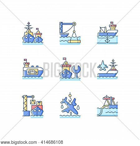 Shipping Industry Rgb Color Icons Set. Naval Fleet. Underwater Construction. Anchorage. Vehicle Carr