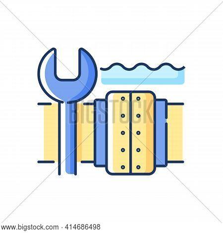 Underwater Pipeline Repair Rgb Color Icon. Subsea Pipeline Integrity Repairing, Reinforcing. Difficu