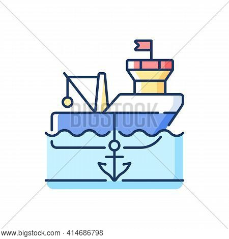 Anchored Ship Rgb Color Icon. Anchorage. Anchoring Operation. Holding Vessel In Same Place. Protecti