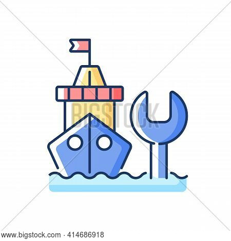 Ship Maintenance And Repair Rgb Color Icon. Repairing Floating Vessels. Naval Engineering. Keeping M
