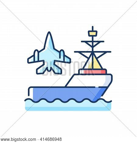 Aircraft Carrier Rgb Color Icon. Seagoing Airbase. Place For Aircraft Launching And Landing. Naval V