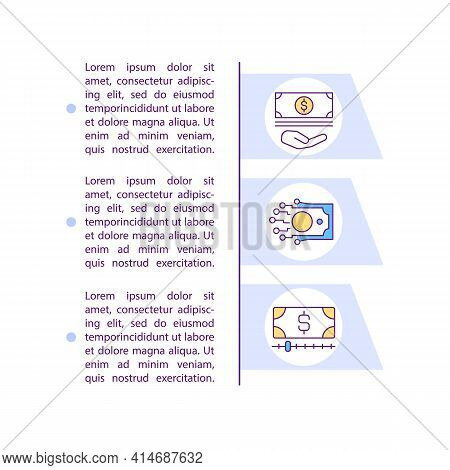 Minimum Deposit And Zero Commission Concept Line Icons With Text. Ppt Page Vector Template With Copy