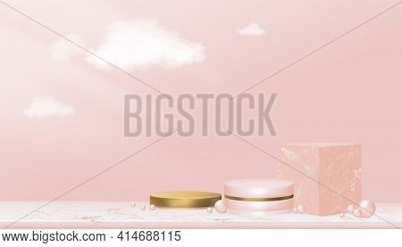 Minimal Podium Display Showcase With Geometrical Form In Pink And Yellow Gold,cylinder Stand On Marb