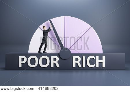 Success Concept With Poor And Rich Pink Shades Scale And Man Trying To Achieve Rich Point On Dark Ba