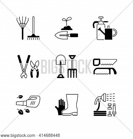 Gardening Equipment Black Linear Icons Set. Rake. Hand Trowel. Watering Can And Sprayer. Hedge Trimm
