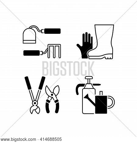 Gardening Supplies Black Linear Icons Set. Hoe And Fork Hoes. Gloves And Boots. Clippers, Secateurs.