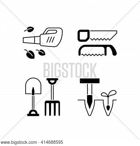 Garden Instruments Black Linear Icons Set. Leaf Blower. Saws. Fork And Spade. Pointed Wooden Stick.