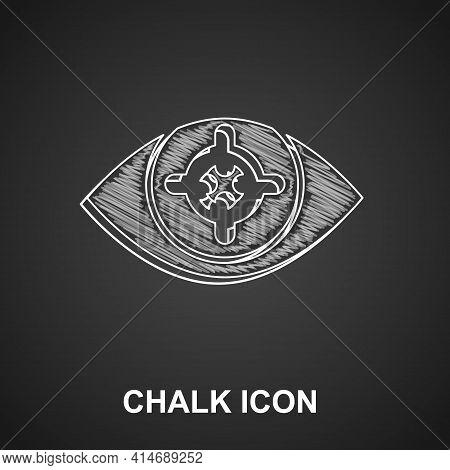 Chalk Eye Scan Icon Isolated On Black Background. Scanning Eye. Security Check Symbol. Cyber Eye Sig