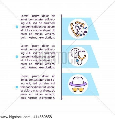 Weak Immune Response Concept Line Icons With Text. Ppt Page Vector Template With Copy Space. Brochur