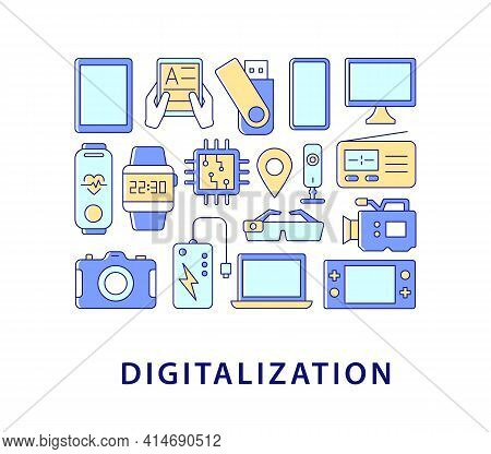 Digitalization Abstract Color Concept Layout With Headline. Digital Transformation. Business Digitiz