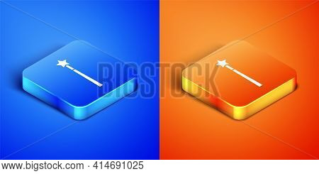Isometric Magic Wand Icon Isolated On Blue And Orange Background. Star Shape Magic Accessory. Magica