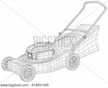 Gardening Grass-cutter Machine. Wire-frame Gasoline Grinder On White Background. Eps10 Format. Vecto