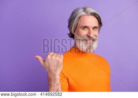 Photo Of Aged Man Happy Positive Smile Point Thumb Empty Space Advert Promo Advice Choice Isolated O