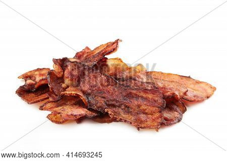 Crispy Strips Of Bacon Isolated On White Background. Top View