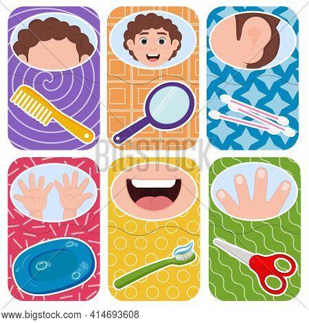 Children Play On Associations. Hygiene Cartoon Cards.