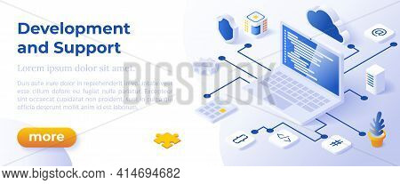 Web Development And Support - Isometric Design In Trendy Colors Isometrical Icons On Blue Background