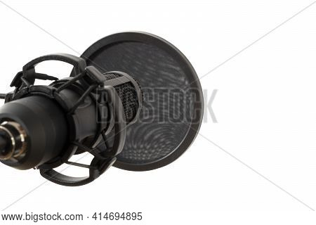 Studio Microphone For Recording Podcasts Isolated On White Background
