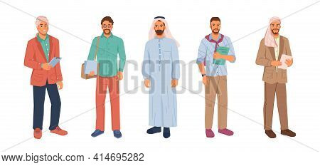 Modern Muslim Businessman In Hijab Or Headscarf Isolated Flat Cartoon People Set. Vector Arabian Bus