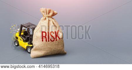 Forklift Unable To Lift The Bag With Risk. Business Strong Risk Management Concept. High Probability
