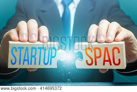 Man Connects Puzzles With Words Startup And Spac. Simplified Fundraising And Funding Procedure For M