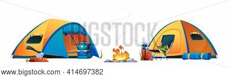 Camping, Campfire Tents, Bonfire And Tourist Travel Equipment Isolated Icons. Vector Campsite With S