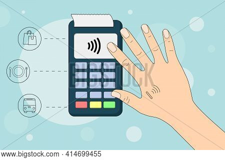 Payment For Purchases Using A Chip. A Chip Is Built Into The Hand.