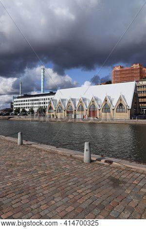 Gothenburg, Sweden - August 26, 2018: City View With Fish Market (fiskekorka) Of Gothenburg, Sweden.