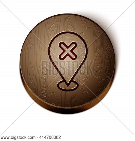 Brown Line Map Pin With Cross Mark Icon Isolated On White Background. Navigation, Pointer, Location,