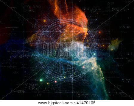 Space Topology series. Design made of grids nebulae and cosmology formulas to serve as backdrop for projects related to science of astronomy physics cosmology and related technologies poster