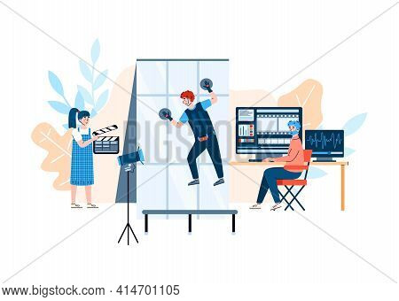 Filmmakers Shooting Movie Action, Flat Cartoon Vector Illustration Isolated.