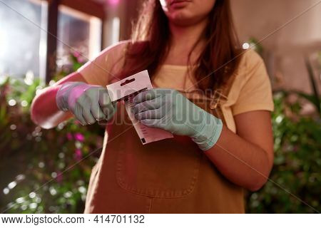 Girl Gardener In Gloves Working In The Garden. Home Garden Concept. Garden Worker Standing Inside An