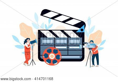 Huge Movie Clapper With Filmmakers, Flat Cartoon Vector Illustration Isolated.