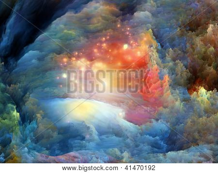 Abstract arrangement of dreamy forms and colors suitable as background for projects on dream imagination fantasy and abstract art poster