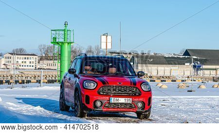 Ventspils, Latvia, February 6, 2021: Mini Cooper S Countryman - Hybrid Car Was Parked On The Side Of
