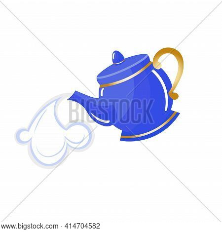 Blue Porcelain Teapot With Steam. Decorated With Golden Detailes. Alice In Wonderland Inspired.