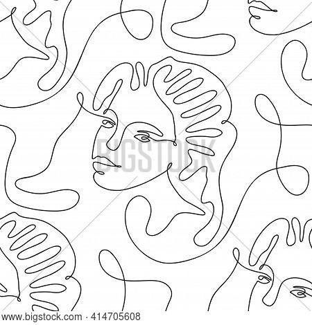 One Line Seamless Modern Pattern. Vector Illustration. Minimalist Minimal Young Woman Face Simplicit